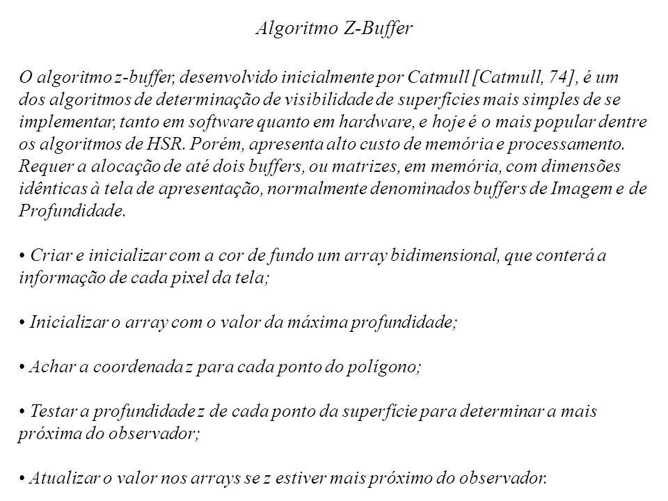 Algoritmo Z-Buffer O algoritmo z-buffer, desenvolvido inicialmente por Catmull [Catmull, 74], é um.
